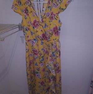 Xhiliration floral print dress with ties